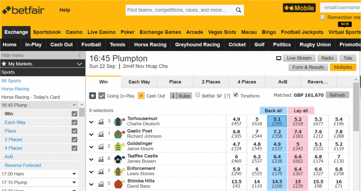 Betfair Main Screen